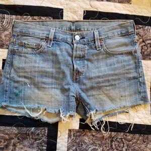 Distressed Levi's denim shorts